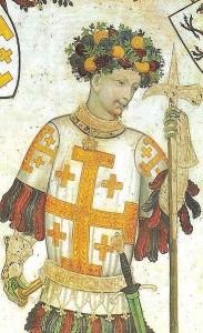 Godfrey of Bouillon, holding a pollaxe