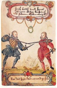 Fencing noble students, around 1590