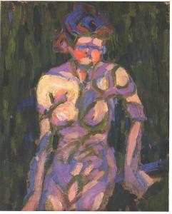 Kirchner, Nacktes Madchen mit Zweigschatten