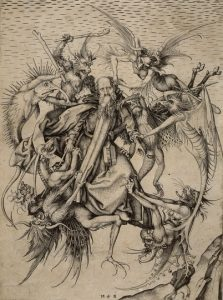 """St. Anthony plagued by demons"" by Martin Schongauer"