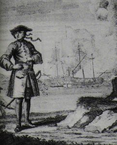 An engraving depicting the pirate Edward England with, in the background, the fight of the Fancy (left) and the Cassandra