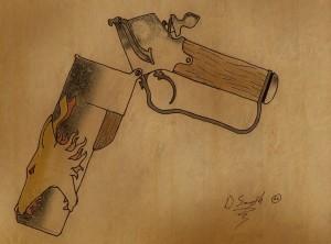 Wolfgun by David Smyth; parchment background by sinnedaria (via deviantart.com)