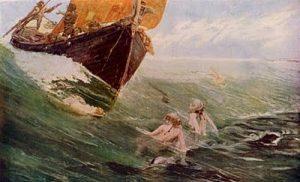 The Mermaid Rock (1894), romantic painting by the English artist Edward Matthew Hale.