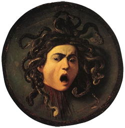 Medusa painted on a wooden shield by Caravaggio, circa 1592–1600 CE