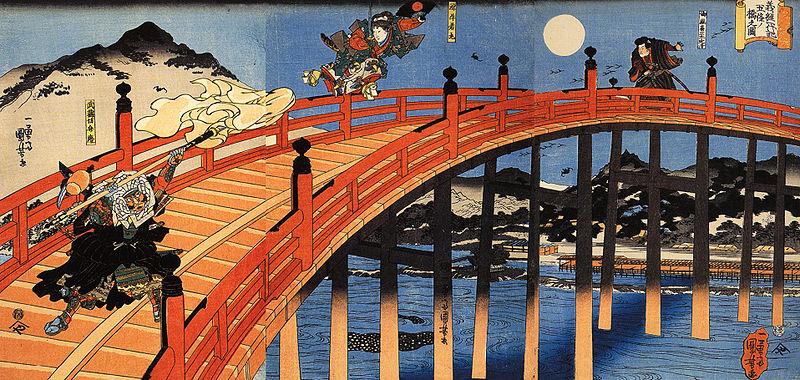 The moonlight fight between Yoshitsune and Benkei on the Gojobashi, Kyoto