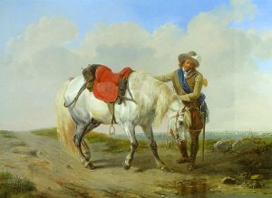 Eugene Verboeckhoven, A Cavalier Watering His Mount (1852)