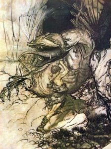 "Sigurd as Conan; ""Sigurd kills Fafnir"" by Arthur Rackham, 1911"