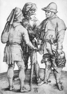 Three Peasants in Conversation by Albrecht Durer