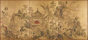 Left of a pair of six-section folding screens (byōbu) painted in Chinese Southern School style. This screen depicts the Zuiweng Arbor at Mount Langya in which literati hold a gathering.