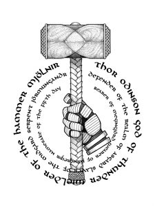 Mjolnir in Hand with Circular Text Quarter