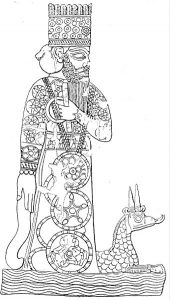 The god Marduk with his dragon, from a Babylonian cylinder seal.